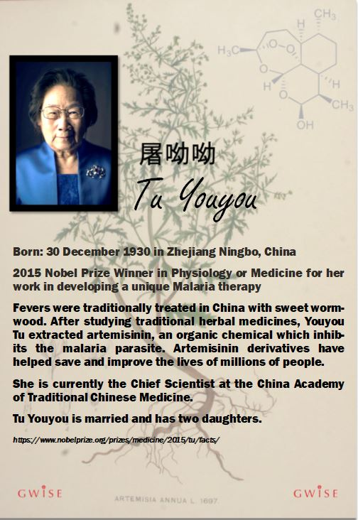 Youyou Tu is the 2015 Nobel prize winner in physiology or medicine for her work in developing a unique malaria therapy. Fevers were traditionally treated in China with sweet wormwood. After studying traditional herbal medicines, Youyou Tu extracted artemisinin, an organic chemical which inhibits the malaria parasite. Its derivatives have helped save and improve the lives of millions of people.
