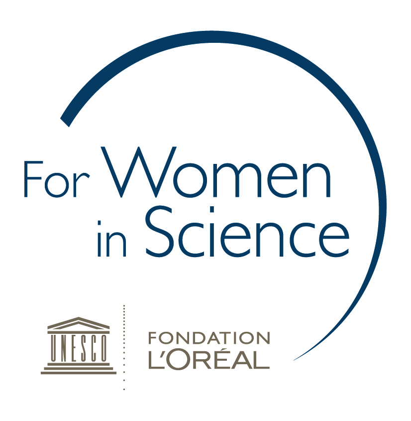 For Women in Science logo with a swoosh
