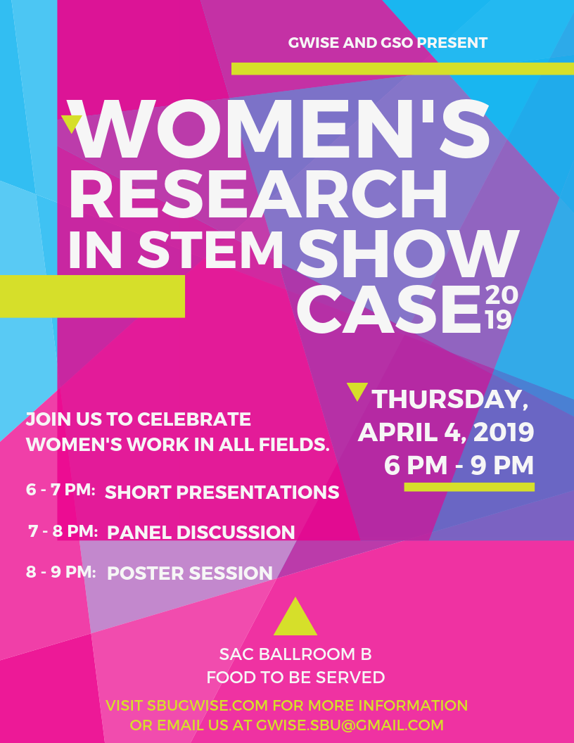Women's Research in S.T.E.M. Showcase on Thursday, April 4th, 2019, from 6 p.m. to 9 p.m in S.A.C. Ballroom B. Join us to celebrate women's work in all fields. 6 - 7 p.m. Short Presentations 7 - 8 p.m. Panel Discussion 8 - 9 p.m. poster session. Food to be served.