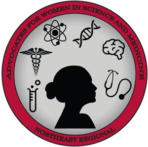 Advocates for Women in Science and Medicine Logo. Features a female silhouette with shadows of a test tube, the staff of Hermes, a nucleus, a strand of DNA, a brain, and a stethoscope.