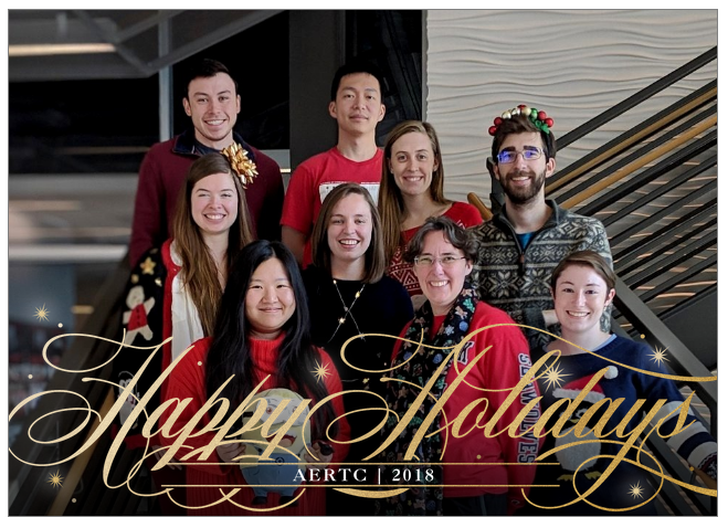 A group of six women and three men, standing on a flight of steps and smiling for the camera. They are all in festive holiday gear and the bottom of the image reads, Happy Holidays from AERTC in 2018