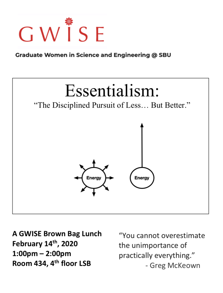 "GWISE Brownbag lunch entitled ""Essentialism: The Disciplined Pursuit of Less... but Better"" Taking place February 14, 2020 at 1pm in Room 434, 4th floor LSB"